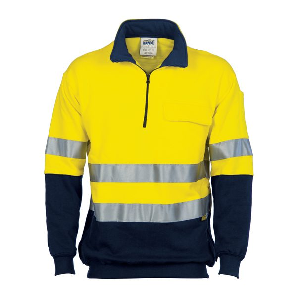 HiVis Two Tone 1/2 Zip Cotton Fleecy Windcheater with 3M R/Tape