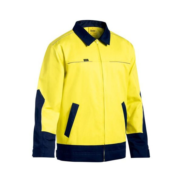 Two Tone Hi Vis Liquid repellent Cotton Drill Jacket