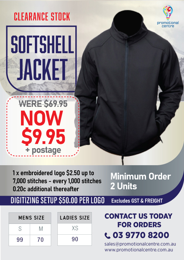 Promotional Centre - Clearance Stock Softshell Jacket